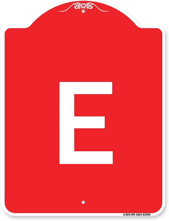 SignMission Designer Max 65% OFF Series Sign - with E Wh Letter overseas Red