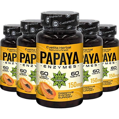 Papaya Enzyme | 300 Tablets x 150 mg (10 Month's Supply) | Natural Papain from Papaya | 100% Vegan | No Additives & Lab-Tested | Digestive Enzymes by Cvetita Herbal (5)