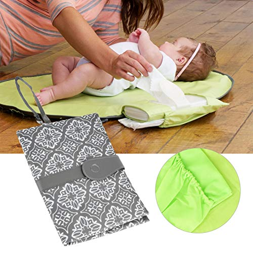 SALUTUYA Bolsas de pañales para bebés Simples y clásicas, colgadas en el Cochecito o en la muñeca, plegadas & portátil(Grey Floral)
