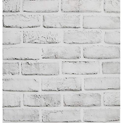 FENTIS Tapete mit Weißem Grauem Ziegelstein Effekt Hellgrau Selbstklebend Rustikal Kontaktpapier Kunststoff-Vinylfolie mit Klebriger Rückseite Schälen und Kleben für Dekorieren Küche 44.5x500cm