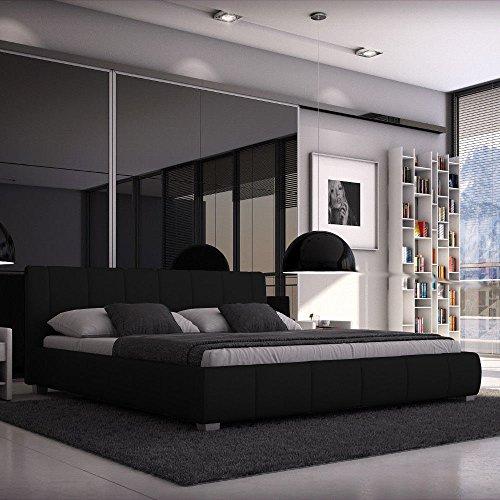 SEDEX Bett Luna 180x200 cm Polsterbett Doppelbett Ehebett Hotelbett Designerbett Kunstleder - schwarz