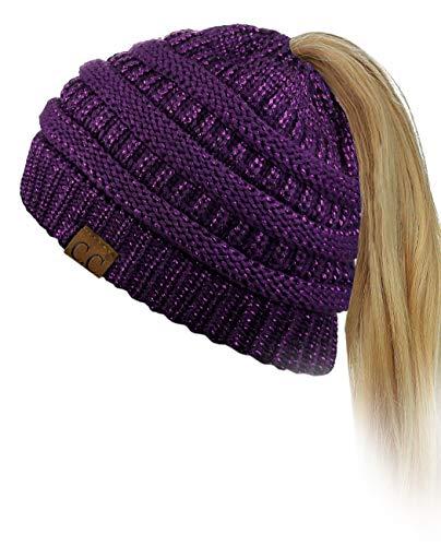 C.C BeanieTail Soft Stretch Cable Knit Messy High Bun Ponytail Beanie Hat, Purple Metallic