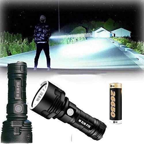 30000-100000 Lumen Linterna LED Alta Potencia, Carga USB Linternas portátiles,3 modos superbrillantes,Resistente al agua,para senderismo,caza,camping. (50W XLM-P70, Batería de litio única)