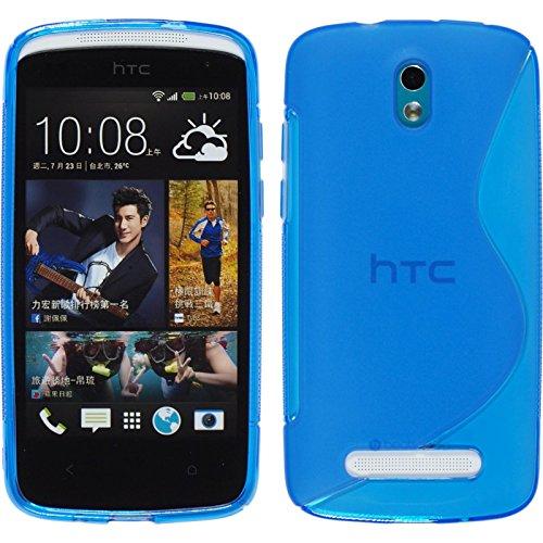 PhoneNatic Hülle für HTC Desire 500 Hülle Silikon blau S-Style Cover Desire 500 Tasche + 2 Schutzfolien