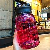 Vaso de agua de 600 ml, diseño de cielo estrellado degradado con bolsa protectora, bonita taza de agua a prueba de fugas para niñas, botella de agua deportiva (color: rojo)