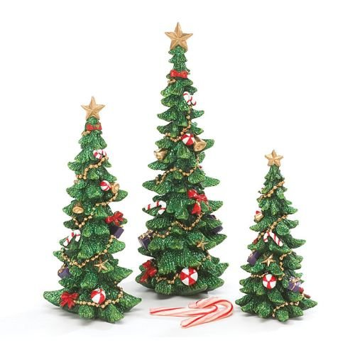 Set of 3 Decorated Christmas Tree Figurines for Holiday Home Decor