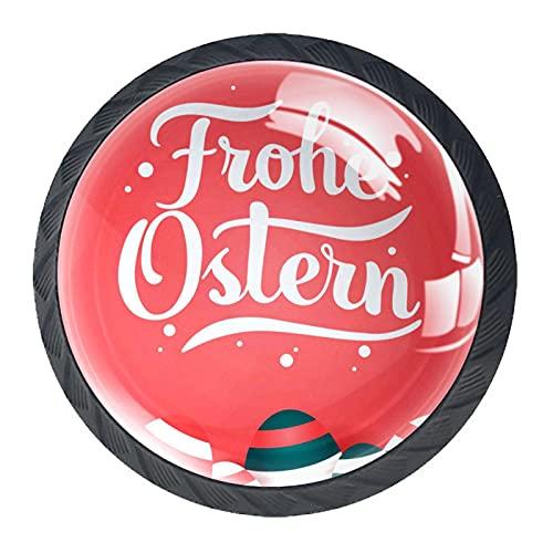 Poignées de tiroir Boutons d'armoire Lot de 4 boutons de tiroir ronds,joyeux oeuf de pâques frohe ostern