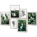 BLCKART Juego de imágenes Beige Love con estilo de hierba de Pampa, póster natural para el salón, decoración bohemia (L | 4 x A3 | 2 x A4 | sin marco, Exótic Dream)