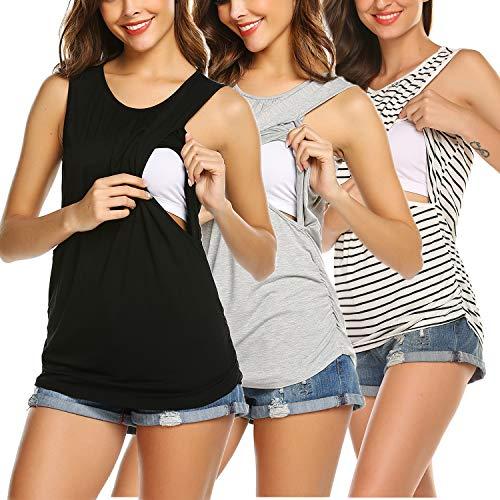 Ekouaer Womens Maternity Tanks Double Layer Breastfeeding Tops 3 Packs Nursing Tee Shirt Black+Grey+White Striped S
