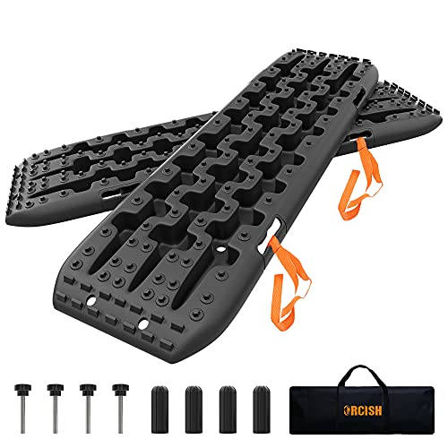 ORCISH Recovery Traction Boards Tracks Tire Ladder for Sand Snow Mud 4WD(Set of 2) (2Gen Bag+Mounting Pins, Black)