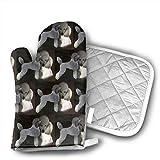 NAA Pudel in grauen und weißen Ofenhandschuhen, hitzebeständige Ofenhandschuhe, rutschfeste Kochhandschuhe, waschbare Küchenhandschuhe zum Backen, Grillen.