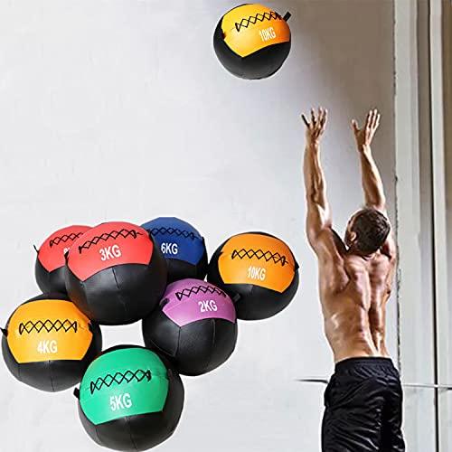 YZBBSH Balón Medicinal Wall Ball Unisexo Entrenamiento de la Fuerza Balones de Ejercicio Peso Opcional 2kg 3kg 4kg 5kg 6kg 7kg 8kg 9kg 10kg 11kg 12kg Bola Medicinal Diámetro 35cm