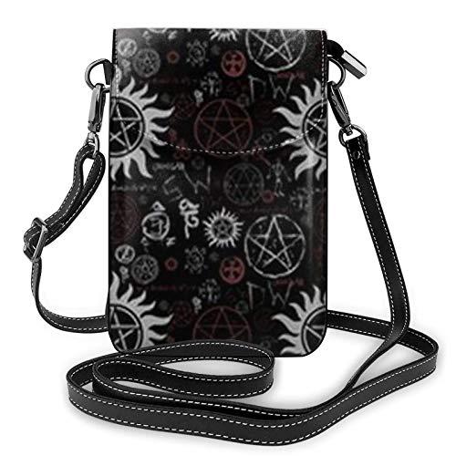 Leichte PU-Leder-Handytasche, Supernatural-Symbole, schwarz, kleine Crossbody-Taschen, Schultertasche, Geldbörse, Pounch-Handtasche für Frauen