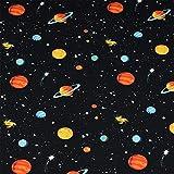 Baumwollstoff Kim, Planeten, Sterne, schwarz (50cm x 147cm)