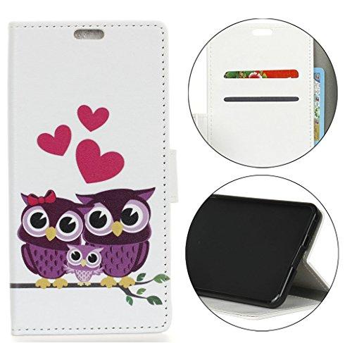 Sunrive Hülle Für Alcatel U5 HD, Magnetisch Schaltfläche Ledertasche Schutzhülle Hülle Handyhülle Schalen Handy Tasche Lederhülle(Muster Eule 1)+Gratis Universal Eingabestift