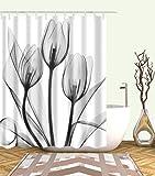 Cortina de ducha con flores y ganchos, color gris, transparente, tulipán, flores blancas y grises, decoración de baño, impermeable, poliéster, accesorios de baño