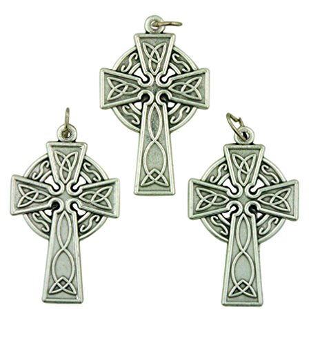 Lot of 3 Silver Tone 1 1/2 Inch Celtic High Cross Irish Pendant
