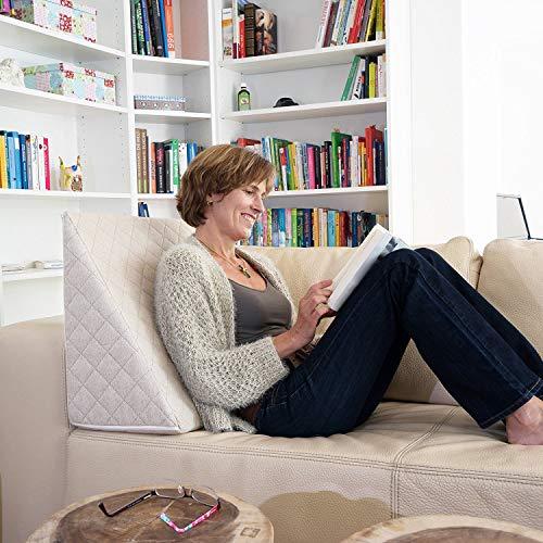 Sabeatex Il Fantastico Cuscino a Cuneo per Il Vostro Soggiorno o Camera da Letto, Cuscino da Lettura per Una Seduta Rilassata. 5 Colori in Tinta Unita per Un Design d'interni alla Moda (Beige)