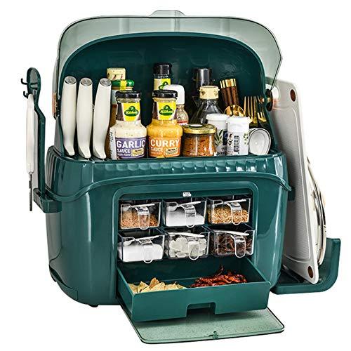 Especiero Cocina Estante Especias Extraible Spice Rack Estante Para La Cocina Fácil Instalar Para Almacenamiento Superficie,Verde