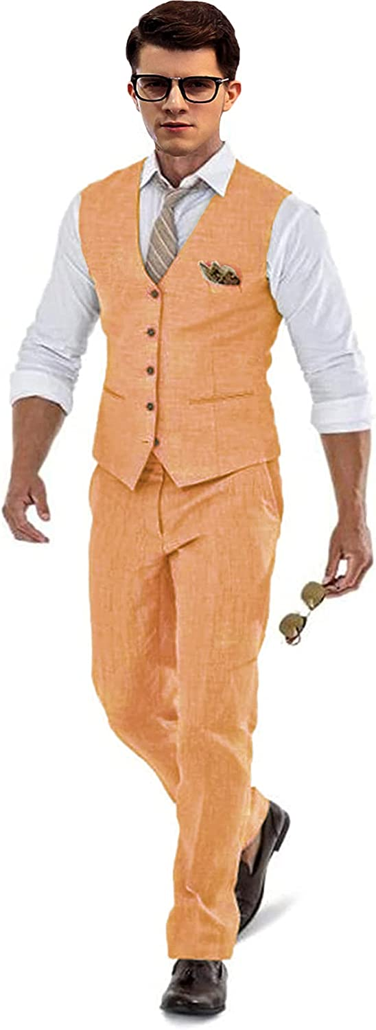 Mens Linen Beach Pants Big Soldering and a for Vest Tall Wedding 2021 model Suit