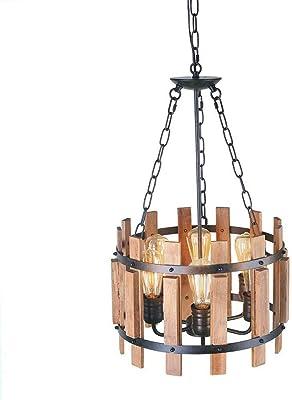 Ladiqi 5 Lights Rustic Chandelier Wooden Hanging Pendant