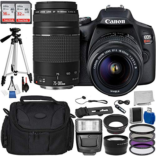 """Canon EOS Rebel T7 DSLR Camera with 18-55mm DC III Lens and 75-300 III Lens Accessory Bundle: Includes – 16GB + 32GB Ultra SanDisk Memory Cards, 50"""" Professional tripod, Carrying Bag, 3pcs Filter Kit, and More"""