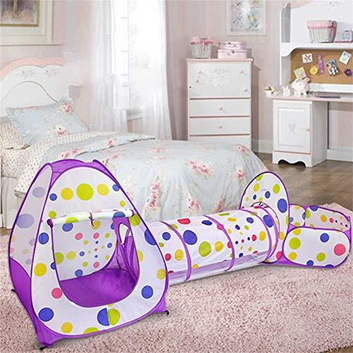 AKDSteel 3 Piezas casa + Tubo + Tienda de Piscina de Bolas de mar con Estampado de Puntos Juguete Plegable para niños Purple