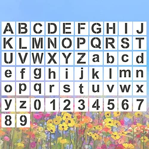 62 Piezas Plantillas Letras, Plantillas de Pintura Del Alfabeto, Reutilizables Números y Letras Pintura Stencil para Dibujo Spray Arte Manualidades (3 Pulgadas)