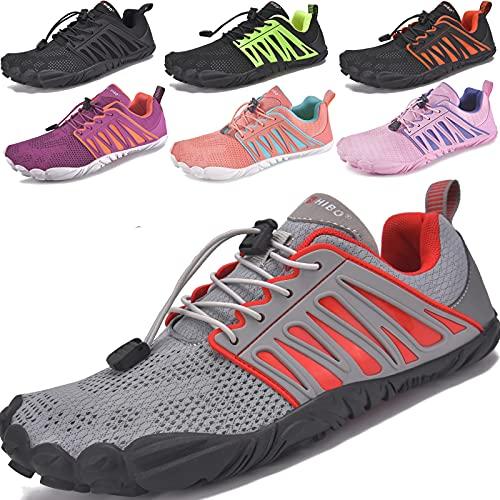 JACKSHIBO Barfussschuhe Herren Barfußschuhe Damen Atmungsaktiv Laufschuhe Schnell Trocknend Sportschuhe Turnschuhe rutschfest Trekking Traillaufschuhe Fitnessschuhe Joggingschuhe (Grau Rot,45EU)