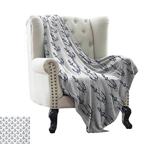 BelleAckerman - Manta para colchón, diseño de Ancla, diseño Floral en círculos de Cuerda Marina, monocromática, Color Azul Marino, Blanco y Negro, Supersuave y cálida, Manta Duradera