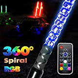 GTP 6ft Spiral LED Whip Lights 360 Twisted 20 Color RGB - 21 Modes Lighted Whips Antenna W/Flag for UTV ATV Polaris RZR Quad Off-Road Can-am Maverick Yamaha Sand Dune Buggy 4X4