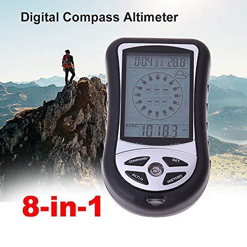Yiteng デジタルコンパス 多機能 デジタル高度計 携帯気圧計温度計 コンパス 夜間使用可能 天気予報付き 日時 羅針盤 カレンダー 超軽量 キャンプ ハイキング