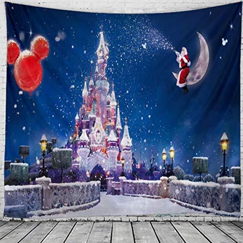 shenlanyu Tapiz de Navidad para colgar en la pared, Navidad, noche, hogar, decoración de castillo de Navidad, tamaño grande