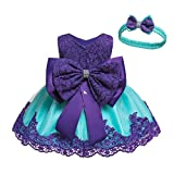 Special Occasion Dresses 2 Years Old for Girls Sleeveless A-Line Wedding Party Dress Ball Gowns for Birthday Holiday Pageant Party 3T Girls Lace Flower Formal Dress (Blue Purple 90)