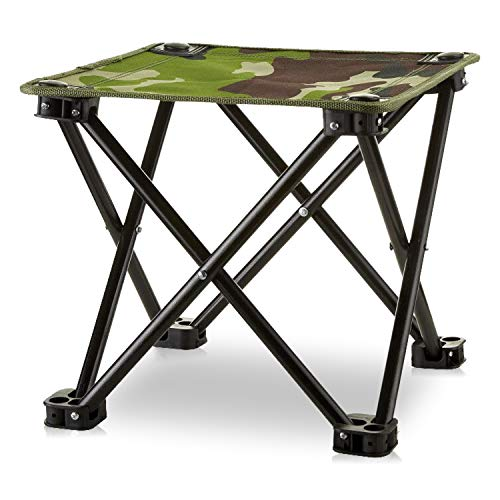 Mini Portable Folding Stool, Folding Camping Stool, Mini Portable Chair for Beach, Picnic Party, Camping, Barbecue, Fishing, Hiking, 600D Oxford Cloth with Portable Bag (Green Camouflage)