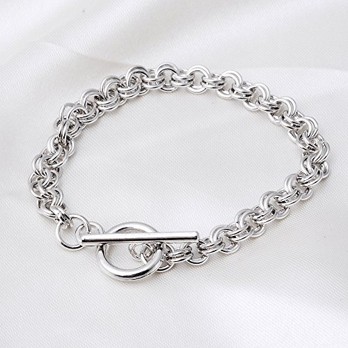 RUBYCA 10Pcs Toggle Clasp Silver Color Charm Rolo Bracelet Double Long Link Chain 20cm DIY Jewelry
