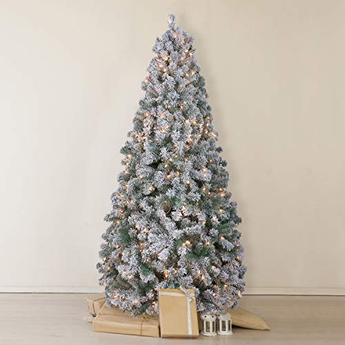 OasisCraft Snow Flocked Christmas Tree 7.5 Ft with 500 Light, Prelight Artificial Pine Xmas Tree