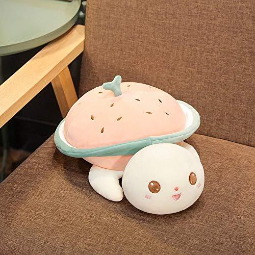 Kleine Schildkrötenfigur begleitet von Schlafkissen Plüschtier Puppenbett super Soft pink Länge 65 cm
