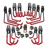 3-H Gancho de suspensión de garaje 12pc, soporte de pared resistente para organizar herramientas eléctricas, Colgador Escoba y Fregona 6pc, cobertizo, escaleras, bicicletas y artículos a granel(Red(