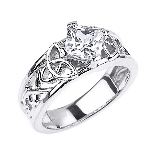 CZ Engagement Rings Sterling Silver Celtic Knot Princess Cut (Size 4.5)