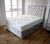ComfoRest 4FT6 Double 4 Drawers Silver Velvet IBEX Divan Bed Set -Base, Memory Mattress, Headboard. UK