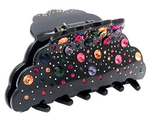 Hollihi Pince à cheveux pour femme et fille 10,2 cm – Grande pince antidérapante – Accessoires de bain pour cheveux épais Noir
