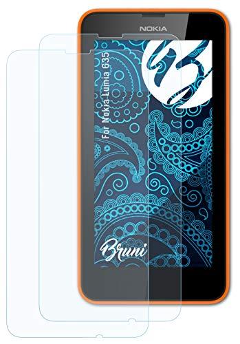 Bruni Schutzfolie kompatibel mit Nokia Lumia 635 Folie, glasklare Bildschirmschutzfolie (2X)