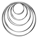 Metal Rings Hoops Macrame Rings for Dream Catcher and Crafts (Silver)