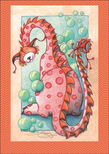 Leuke kinderwenskaart: de draak bloebberblaas als verjaardagskaart, cadeauverpakking • ook voor direct verzenden met uw persoonlijke tekst als inlegger. • om een verjaardag te feliciteren met envelop zakelijk & privé