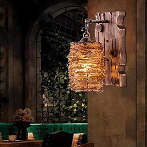 GLXLSBZ Aplique de Pared Retro Antiguo Restaurante de Pared Cafe Lámpara Antigua en el Pasillo Lámpara de Pared de Madera Lámpara de Pared Pasillo Loft Estudio (iluminación para el hogar)