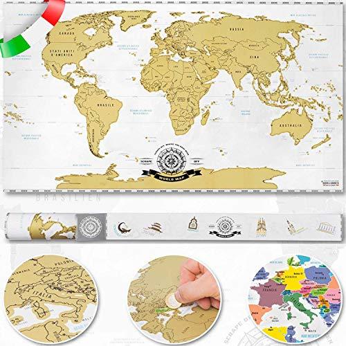 GOODS+GADGETS Raschia Via la Mappa del Mondo da grattare Oro - XXL Scratch off World Map 82 x 45 cm - graffio Mappa Deluxe murale a Parete (Italiano)