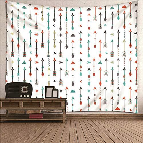 Aimsie Wandteppich, Indisches Themenpfeil, Mond Und Sonnenmuster Tapisserie Wandbehang Polyester Wanddeko Kinderzimmer Tapestry Wall Hanging Weiß 200X200Cm