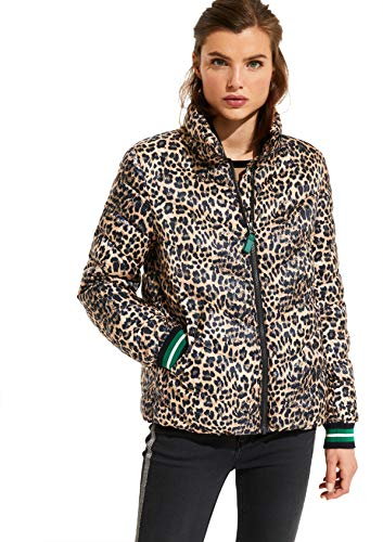 comma Casual Identity Damen Leichte Steppjacke mit Leoparden-Alloverprint Brown Leo 44