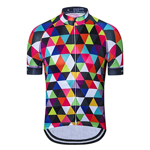 Weimostar Cycling Jersey Men Bike Jersey MTB Jersey Zip Mountain Road Bicycle Tops t-Shirts Breathable Quick Dry Clothing Summer Outdoor Sports Racing Cycle Jersey for Male Apparel Colorful Size XXXL